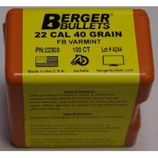 Berger Varmint Bullets 22 Caliber (224 Diameter) 40 Grain Hollow Point Flat Base Box of 100