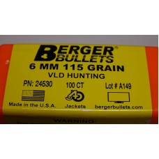 Berger Hunting Bullets 243 Caliber, 6mm (243 Diameter) 115 Grain VLD Hollow Point Boat Tail Box of 100